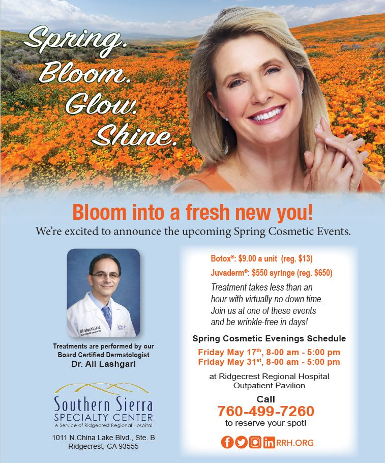 Flyer for Spring Botox woman in field with flowers