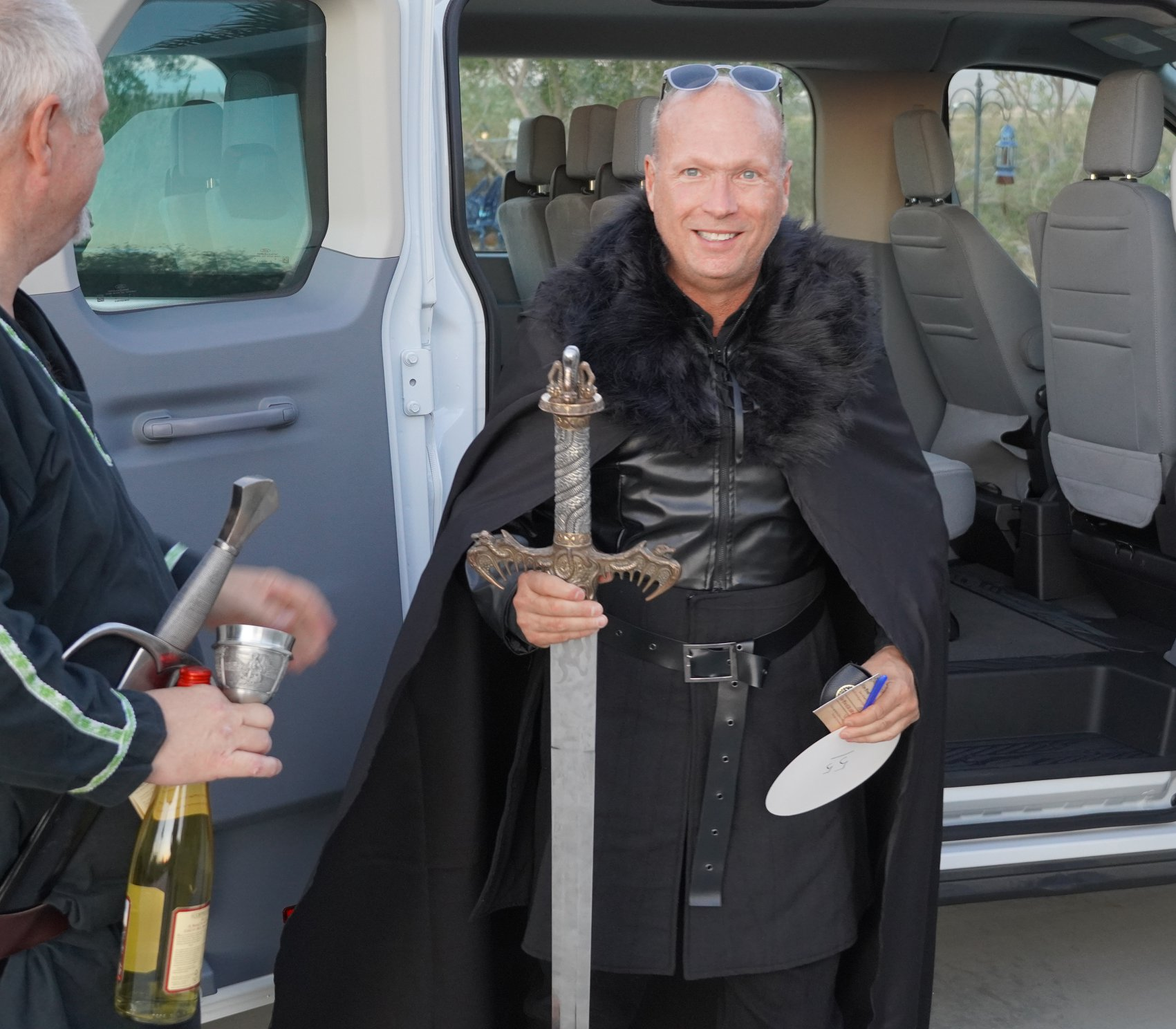 CEO Jim Suver arrives at medieval gala fundraiser
